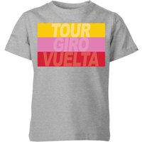 Summit Finish Grand Tour Stripes Kids' T-Shirt - Grey - 11-12 Years - Grey
