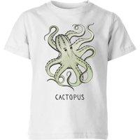 Barlena Cactopus Kids' T-Shirt - White - 11-12 Years - White