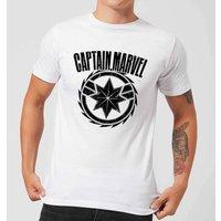 Captain Marvel Logo Mens T-Shirt - White - XL - White