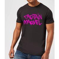 Captain Marvel Spray Text Men's T-Shirt - Black - 4XL - Black