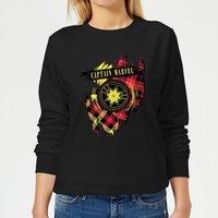 Captain Marvel Tartan Patch Womens Sweatshirt - Black - M - Black