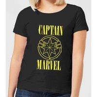 Captain Marvel Grunge Logo Women's T-Shirt - Black - L