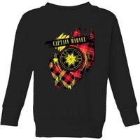Captain Marvel Tartan Patch Kids Sweatshirt - Black - 7-8 Years - Black