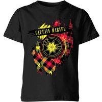 Captain Marvel Tartan Patch Kids T-Shirt - Black - 3-4 Years - Black