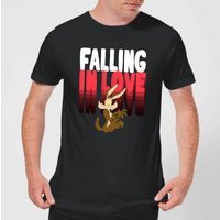 Looney Tunes Falling In Love Wile E. Coyote Men's T-Shirt - Black - S - Black