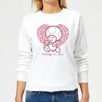 Super Mario Toadally In Love Women's Sweatshirt - White - XS - White