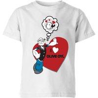 Popeye I Love Olive Oyl Kids' T-Shirt - White - 7-8 Years - White