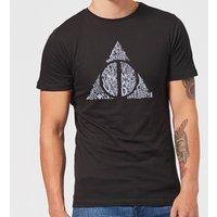Harry Potter Deathly Hallows Text Men's T-Shirt - Black - XS - Black