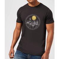 Harry Potter Hogwarts Castle Moon Men's T-Shirt - Black - XS - Black