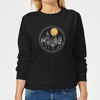 Harry Potter Hogwarts Castle Moon Women's Sweatshirt - Black - S