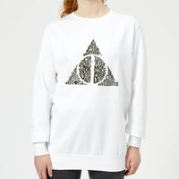 Harry Potter Deathly Hallows Text Women's Sweatshirt - White - S - White