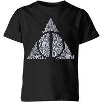 Harry Potter Deathly Hallows Text Kids' T-Shirt - Black - 3-4 Years - Black