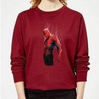 Marvel Spider-man Web Wrap Womens Sweatshirt - Burgundy - XS - Burgundy