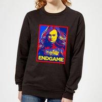 Avengers Endgame Captain Marvel Poster Women's Sweatshirt - Black - L - Black