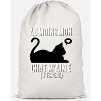 Au Moins Mon Chat M'aime J'espere Cotton Storage Bag - Large