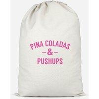 Pina Coladas And Pushups Cotton Storage Bag - Large