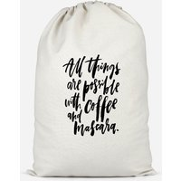 All Things Are Possible With Coffee And Mascara Cotton Storage Bag - Large - Makeup Gifts