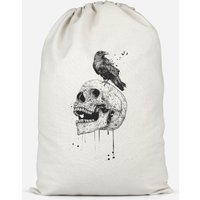 Skull And Crow Cotton Storage Bag - Small