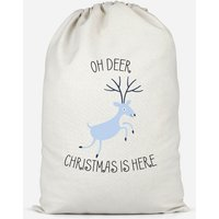 Oh Deer Christmas Is Here Cotton Storage Bag - Small