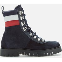 Tommy Jeans Womens Padded Nylon Lace Up Boots - Midnight - UK 4 - Blue