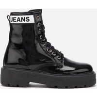 Tommy Jeans Womens Patent Leather Flatform Boots - Black - UK 6 - Black