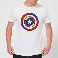 Marvel Captain America Stained Glass Shield Men's T-Shirt - White - XS - White