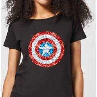 Marvel Captain America Pixelated Shield Women's T-Shirt - Black - XXL - Black