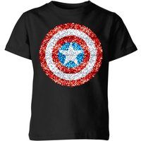 Marvel Captain America Pixelated Shield Kids' T-Shirt - Black - 7-8 Years - Black