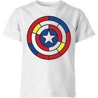 Marvel Captain America Stained Glass Shield Kids' T-Shirt - White - 11-12 Years - White - Glass Gifts