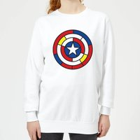 Marvel Captain America Stained Glass Shield Women's Sweatshirt - White - XXL - White - Glass Gifts