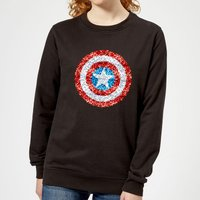 Marvel Captain America Pixelated Shield Women's Sweatshirt - Black - S - Black