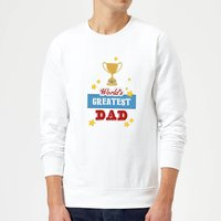 World's Greatest Dad With Trophy Sweatshirt - White - XXL - White