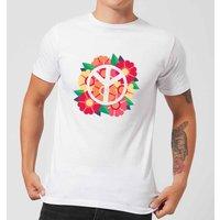 Peace Symbol Floral Men's T-Shirt - White - XXL - White