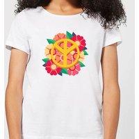 Peace Symbol Floral Women's T-Shirt - White - XL - White