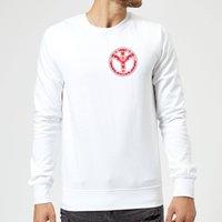 Floral Pattern Peace Symbol Sweatshirt - White - XXL - White