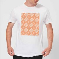 Boombox Pattern Orange Mens T-Shirt - White - 5XL - White