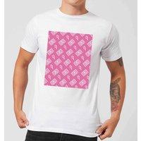 Cassette Tape Pattern Pink Men's T-Shirt - White - L - White