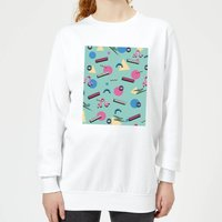 90's Funky Pattern Women's Sweatshirt - White - XL - White