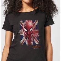 Spider-Man Far From Home British Flag Womens T-Shirt - Black - L - Black