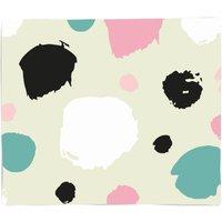Pink, Green And Black Circle Pattern Fleece Blanket