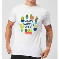 Crazy Cactus Man Mens T-Shirt - White - XL - White