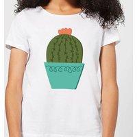 Cactus With Flower Women's T-Shirt - White - 4XL - White