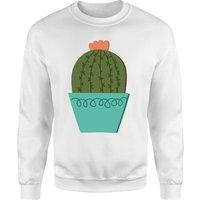 Cactus With Flower Sweatshirt - White - S - White