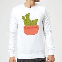 Two Potted Cacti Sweatshirt - White - XL - White