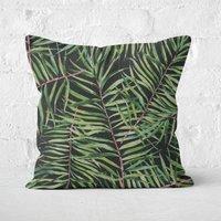 Dark Tropical Leaves Square Cushion - 60x60cm - Soft Touch
