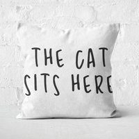 The Cat Sits Here Square Cushion - 50x50cm - Soft Touch