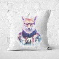 Hipster Fox Square Cushion - 60x60cm - Soft Touch