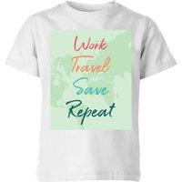 Work Travel Save Repeat Background Kids' T-Shirt - White - 3-4 Years - White