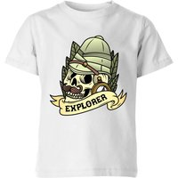 Explorer Skull Kids' T-Shirt - White - 9-10 Years - White