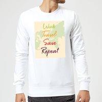 Work Travel Save Repeat Map Background Sweatshirt - White - XL - White